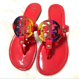 {Tory Burch} Poppy Red Rainbow Miller Sandals